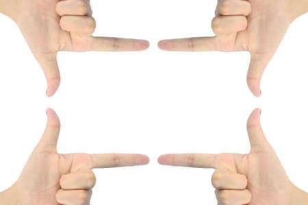 hand as rectangle shape photo