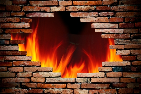 flames background: hole wall and fire