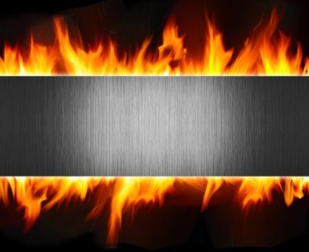 infierno: Resumen de metal y fondo de llamas de fuego Foto de archivo
