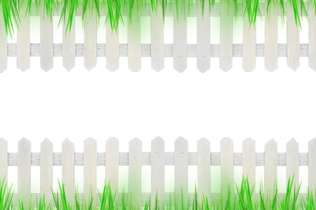 old white fence and grass for background  photo