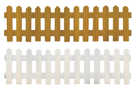 old white fence and brown fence isolated on white background Stock Photo - 9779569