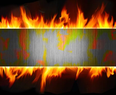 hot frame: abstract metal and fire flame background