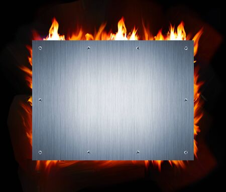 steel beam: abstract metal and fire flame background