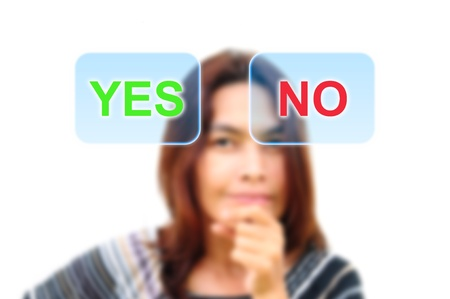 women are deciding yes or no Stock Photo - 9779577