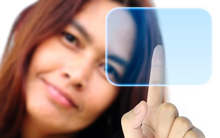 women hand pushing a button on a touch screen interface Stock Photo - 9779578