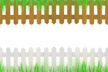 old white fence and brown fence with grass for background  Stock Photo - 9881146