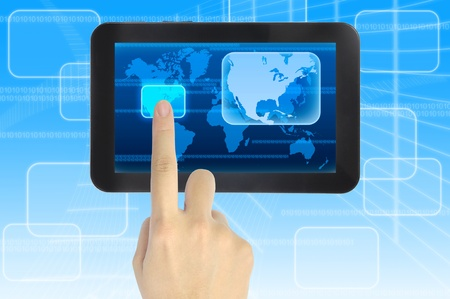 visions of america: hand pushing North America Continent on a touch screen interface  Stock Photo