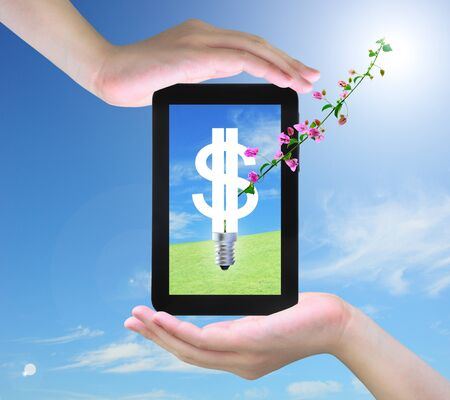 light bulb model of a dollar symbol and pink flower on tablet PC in women hand photo