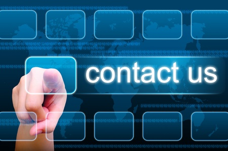hand pushing contact us button on a touch screen interface Stock Photo - 9994161