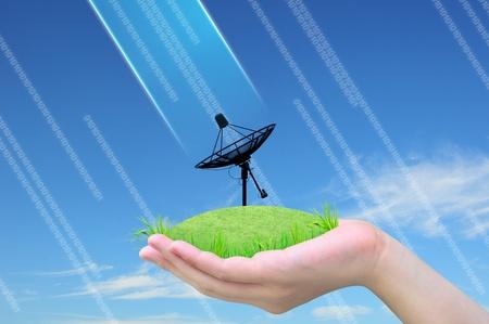 satellite dish on green grass in women hand photo