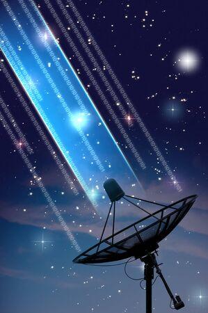 celestial: satellite dish under starry night sky