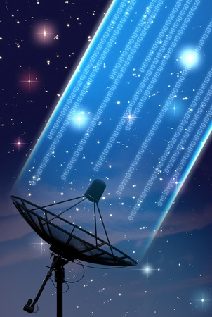 satellite dish under starry night sky photo