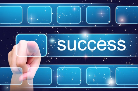 hand pushing success button on a touch screen interface Stock Photo - 10018612