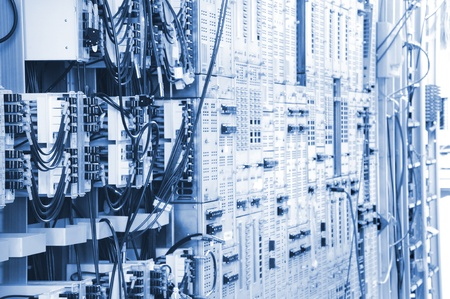 telecommunication equipment: The communication and internet network server room
