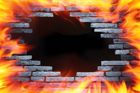 hole wall and fire photo