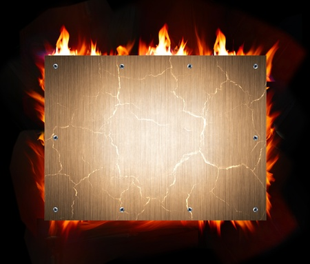 bonfire: abstract metal and fire flame background