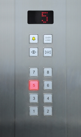 5 floor on elevator buttons Stock Photo - 10183613