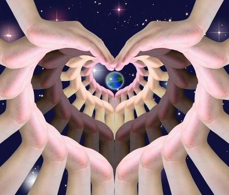 mundo manos: el mundo en manos de humano haciendo un s�mbolo de amor