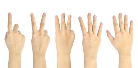 set counting number 1-5 of woman hand isolated on white background Stock Photo - 10273281