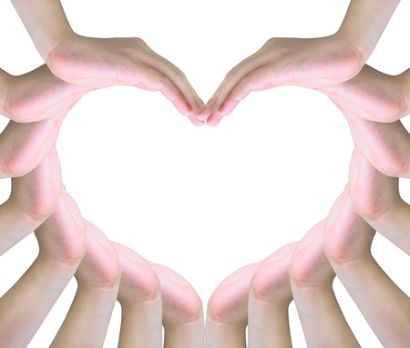 life partner: human hands making a symbol of love with copy space Stock Photo