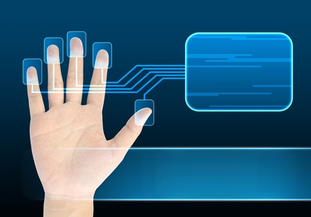 decipher: businessman scanning of a finger on a touch screen interface