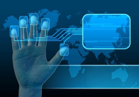 toegangscontrole: zakenman scannen van een vinger op een touch screen interface