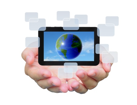 the world in touch pad PC on women hand photo