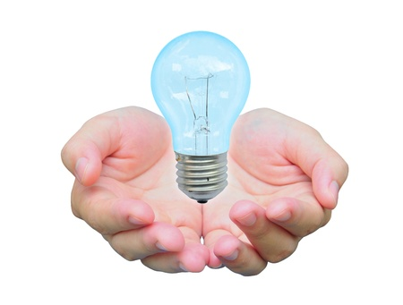 light bulb in women hand photo