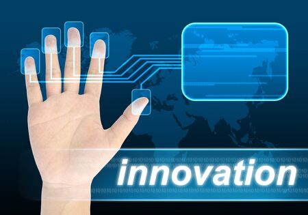 decipher: businessman hand pushing innovation button on a touch screen interface