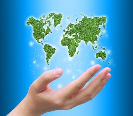 world map and women hand Stock Photo - 10671812