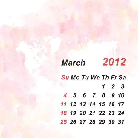 Calendar 2012 watercolor background photo
