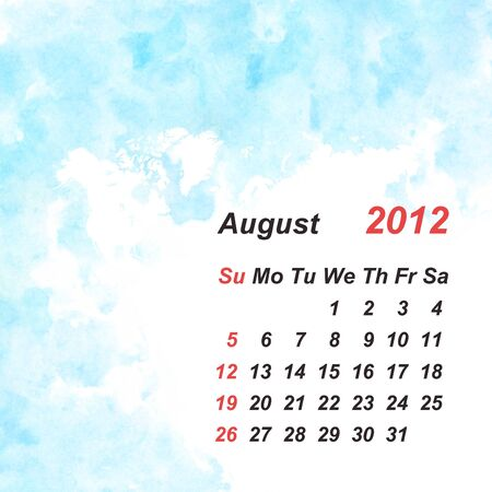 Calendar 2012 watercolor background Stock Photo - 10976950