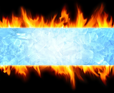 ice crystals: abstract blue ice cube and fire flame background