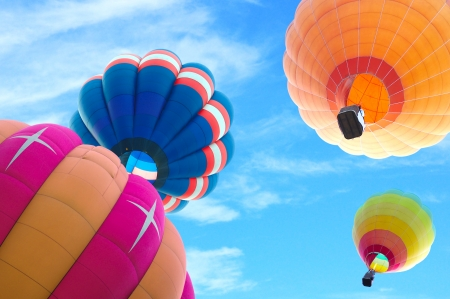 high rises: colorful hot air balloon with beautiful blue sky and cloud