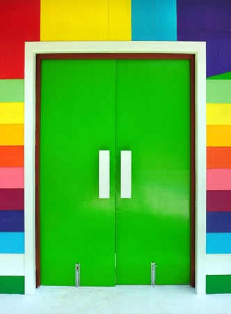 abstract the door multicolored wood background photo