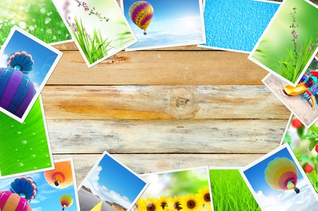 streaming images on wood background photo