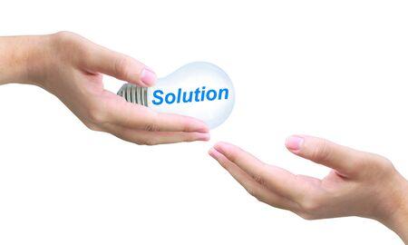 excellent work: sending solution light bulb on women hand