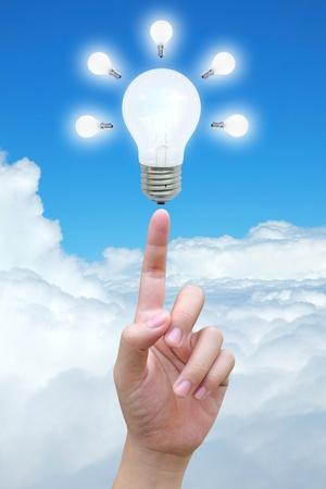 light bulb in women hand photo
