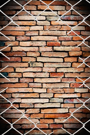 porous on grunge fence and wall photo