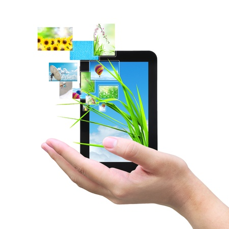 paper screens: touch pad PC and streaming images  Stock Photo