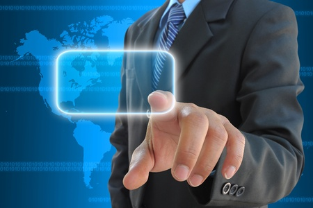 businessman hand pressing a button on a touch screen interface