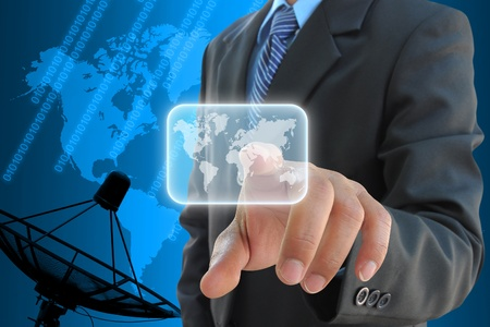 broadband: businessman hand pushing button on a touch screen interface