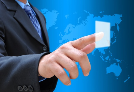 businessman hand pushing button on a touch screen interface Stock Photo - 12164311