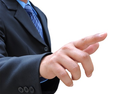 business direction: businessman hand touching Stock Photo