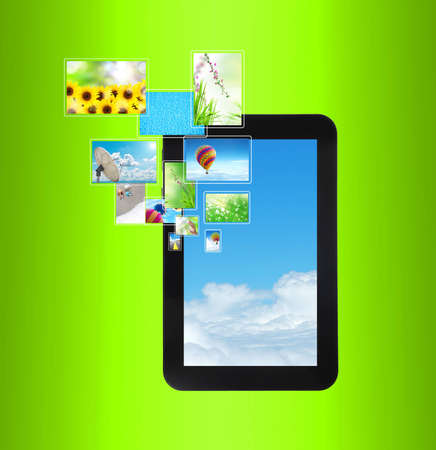 touch pad PC with streaming images Stock Photo - 12457589
