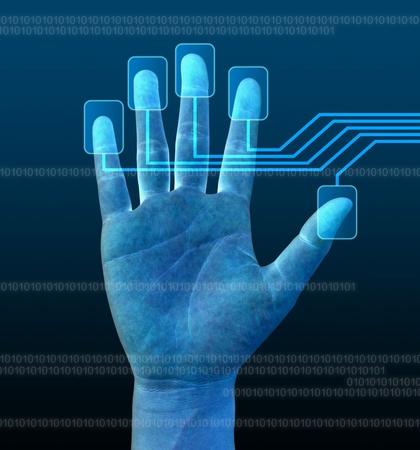 la exploración de un dedo en una interfaz de pantalla táctil Foto de archivo