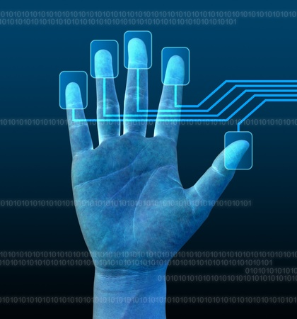 verification: scanning of a finger on a touch screen interface