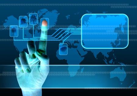 la numérisation d'un doigt sur une interface à écran tactile
