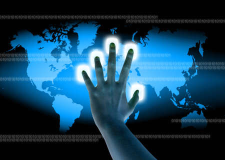 authenticate: scanning of a finger on a touch screen interface