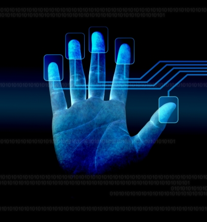 key signature: scanning of a finger on a touch screen interface